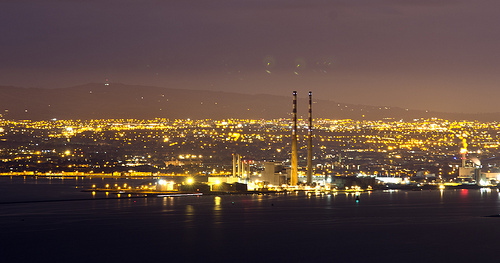 view of Dublin at night