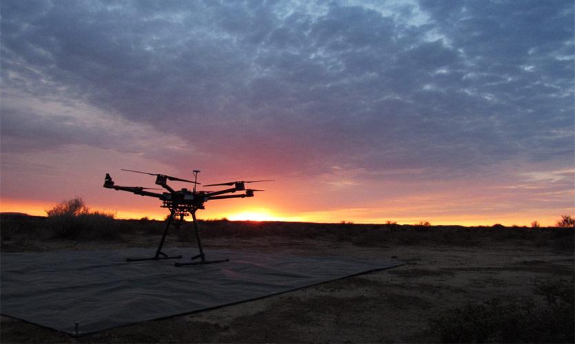 The drone at Sunrise in the Karoo Desert. Photo: C. Burke/LJMU