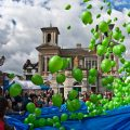 Releasing the balloons at the end of the May Merrie festival in Kingston, Surrey. Photo: Garry Knight