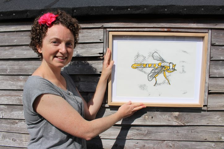 Wasp - Indian ink and watercolour. Photo: Charline Fernandez