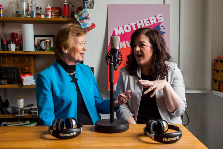 Mary Robinson and Maeve Higgins Photo: Mothers of Invention