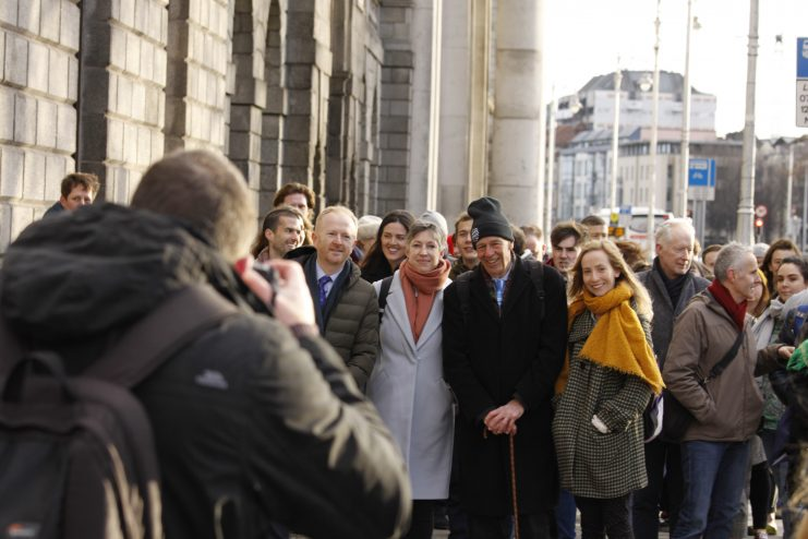 Climate Case Ireland team addressing media at the High Court Photo: Niall Sargent