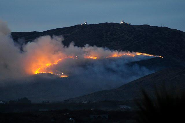 Fires burning on Mount Gabriel near Schull, Co Cork January 2011