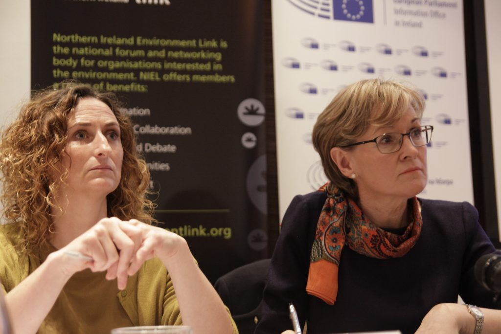 MEPs Lynn Boylan (l) and Mairead McGuinness (r) at Brexit and Environment Conference in Dundalk, 2017 Photo: Niall Sargent