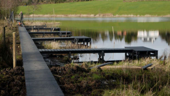 Angling Stands at Town Lake, Carrigallen before IFI funding – Source: Inland Fisheries Ireland