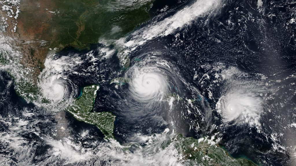 Three simultaneous hurricanes active on September 8, with Katia (left), Irma (center), and Jose (right) Photo: NOAA