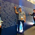Team Ireland pointing at their names at Intel ISEF Hall of Fame Photo: Intel