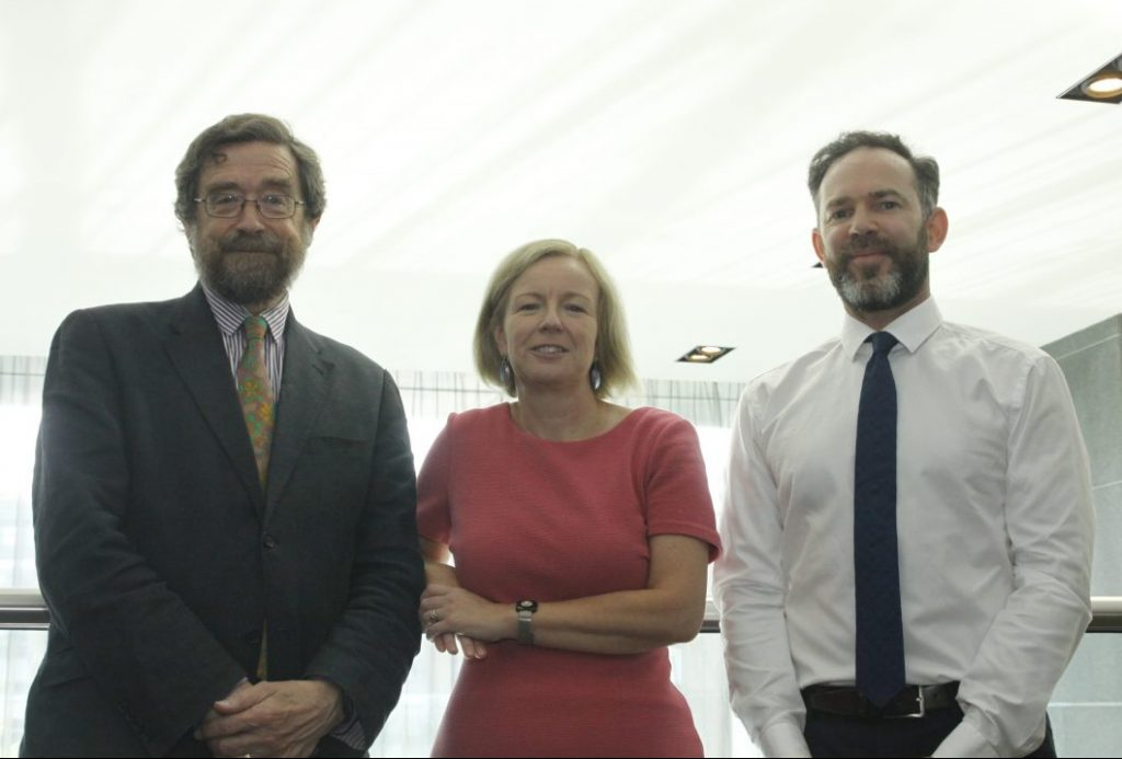 (from left) Prof Fitzgerald, the EPA's Laura Burke and the IIEA's Joseph Curtin Photo: Niall Sargent
