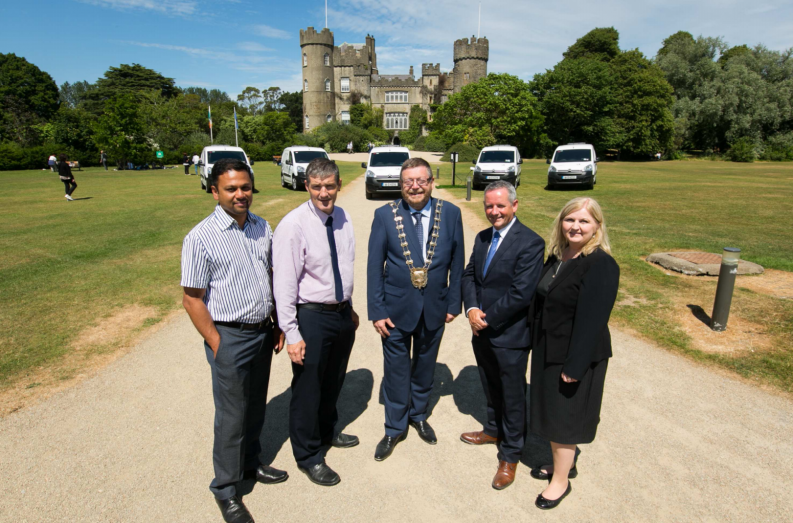 Senior Executive Engineer, Joseph Mandolil, Director of Operations David Storey, Mayor of Fingal Cllr Anthony Lavin, Chief Executive of Fingal County Council, Paul Reid and Senior Enfineer Karen Gallagher at the launch of the Electric Vans at Malahide Castle Photo: Fingal County Council