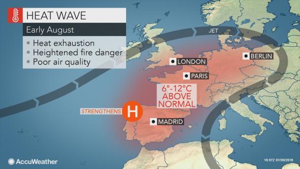 Heatwave hitting Iberian Peninsula, August 2018 Graphic: AccuWeather