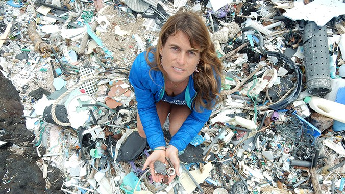 Sarah-Jeanne Royer holding microplastics at Kamilo Point on Big Island Photo: University of Hawai`i