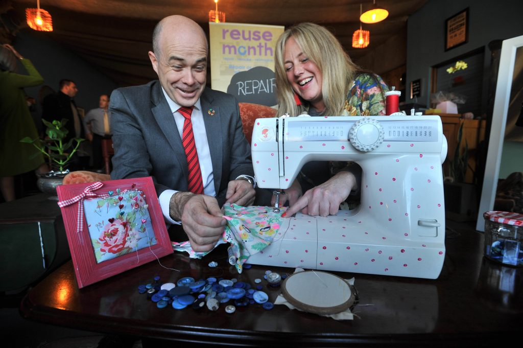 Minister Denis Naughten TD with Michelle Fallon, Owner, michelle made this. Photo: Ray Ryan