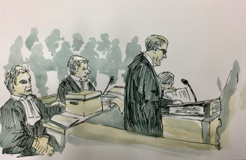 Drawing of Climate Case proceedings by Emily Robyn Archer