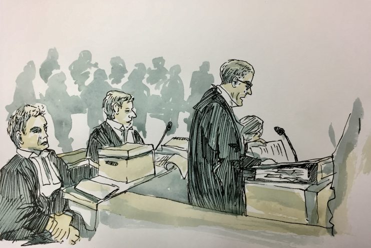 Courtroom drawing of Rory Mulcahy SC Climate Case proceedings by Emily Robyn Archer
