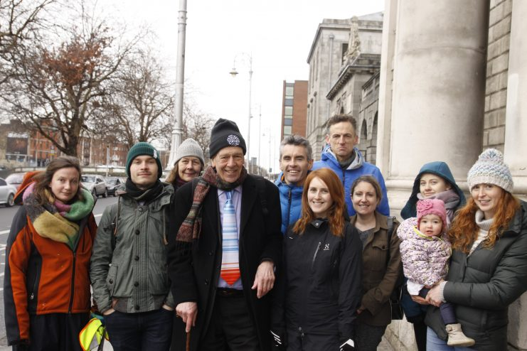 Tony Lowes of FiE with members of Futureproof Clare at high Court Photo: Niall Sargent