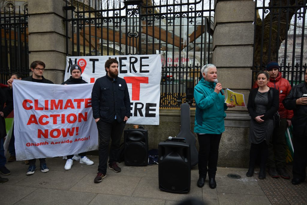 Brid Smith speaking at climate vigil for her Bill Photo: Kalye Crosson