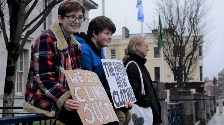 Saoi O'Connor (c) during climate strike March 2019 Photo: Kayle Crosson