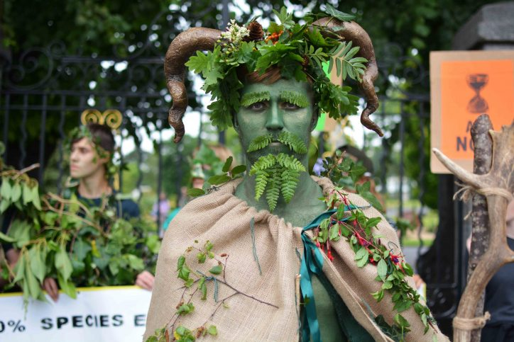 Extinction Rebellion member at protest outside forestry event Photo: Kayle Crosson
