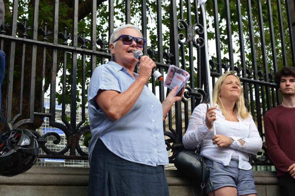 Deputy Brid Smith at protest outside Dail July 2019 Photo: Kayle Crosson