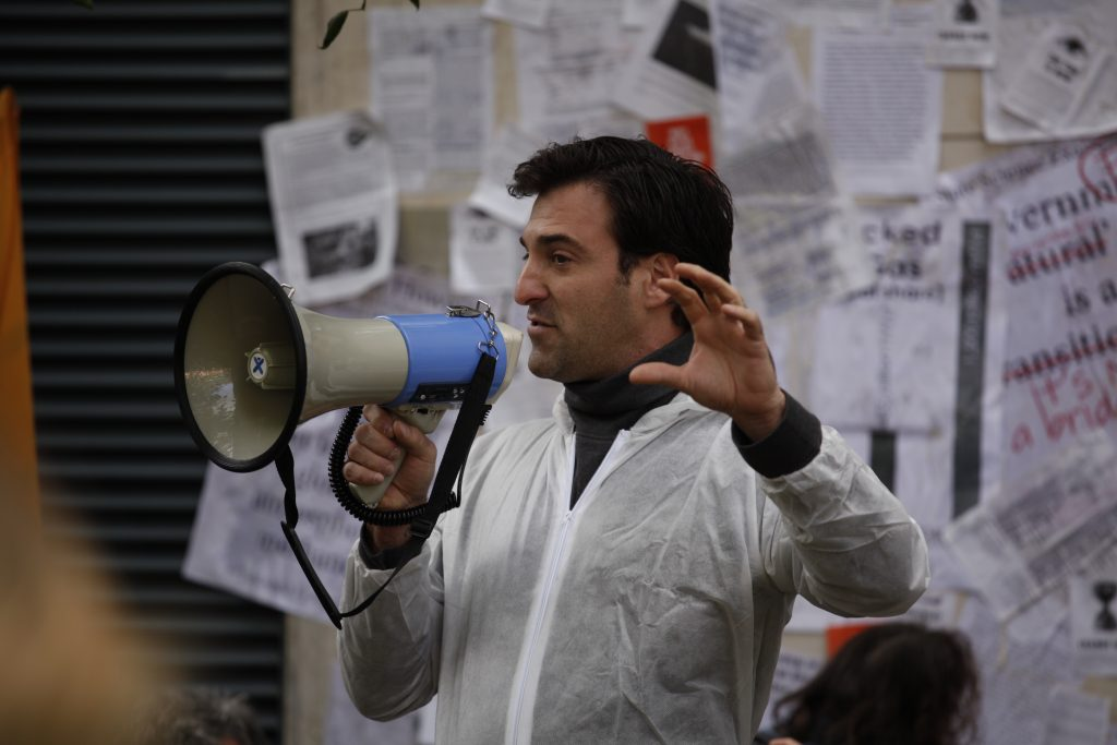 Esteban Servat at fracking protest outside DCCAE office Photo: Niall Sargent