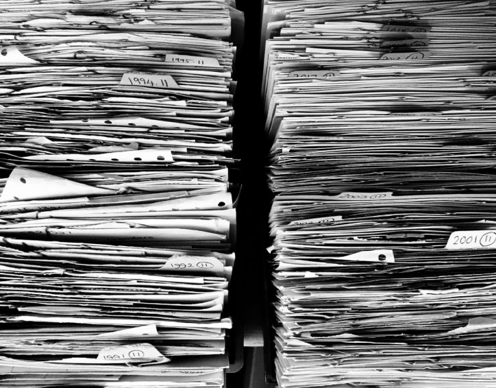 pile of documents, files