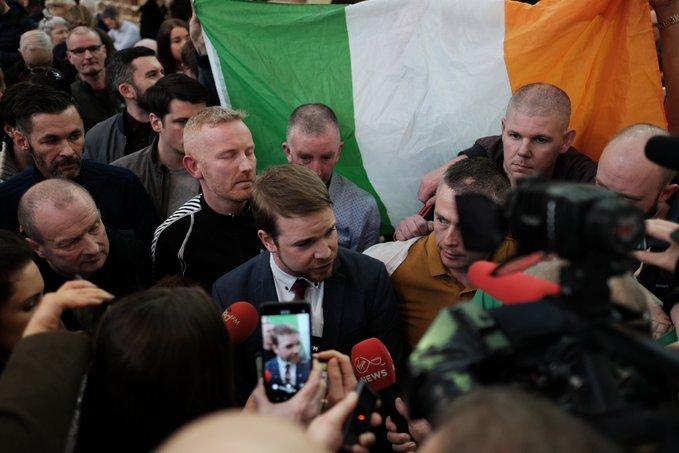 Donnchadh Ó Laoghaire TD celebrates election Photo: Shamim Malekmian