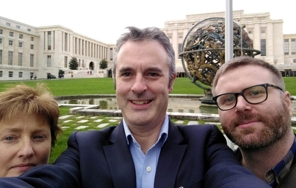 Attracta Uí Bhroin, Fred Logue, and Gavin Sheridan, at the hearing of the ACCC at the Palais De Justice in Geneva.